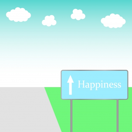 illustration road sign happiness on the road Stock Vector - 18669140