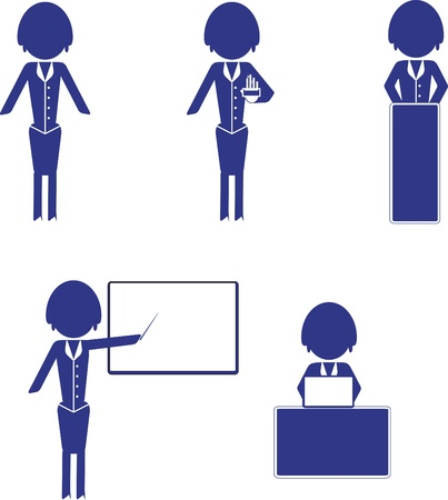 vector set of woman business icons Vector