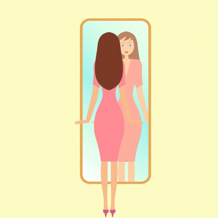 looking: illustration of a girl looking in a mirror