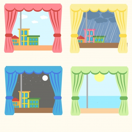 lanscape: vector set of four windows Illustration