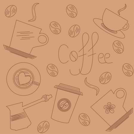 Coffee background in hand draw style