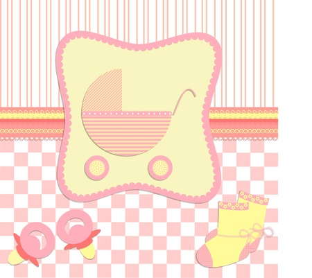 baby goods: Card for newborn girl vector Illustration