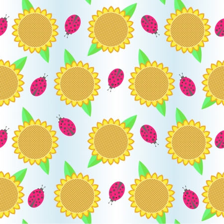 background with sunflowers and ladybird Vector