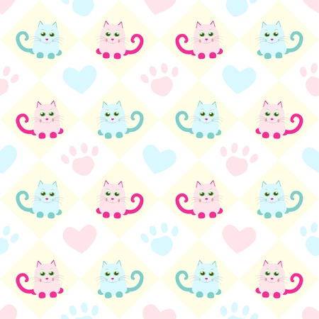 seamless background with cats and heart Vector