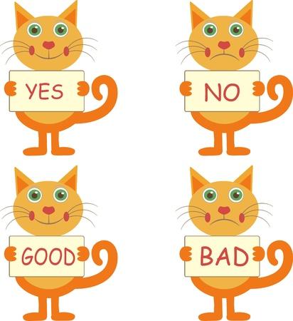 good bad: ensemble de quatre chats joyeux de bande dessin�e avec des signes �oui� - �non�, �bon� - �mauvais�
