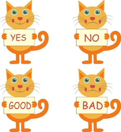good and bad: set of four  cartoon cats joyful with signs yes-no, good - bad