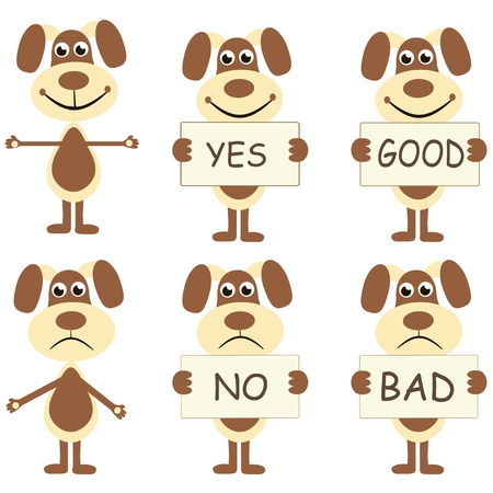 good and bad: set of six cartoon dogs joyful with signs yes-no, good - bad Illustration