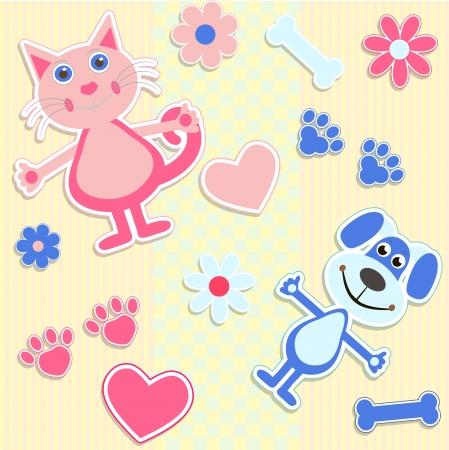 silueta gato: fondo transparente con pegatinas gatos y el coraz�n