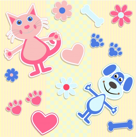 cat silhouette: seamless background with stickers cats and heart