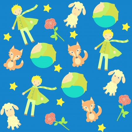 seamless background with The little prince characters Vector