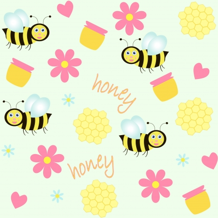 mead: seamless background with bees and honey Illustration