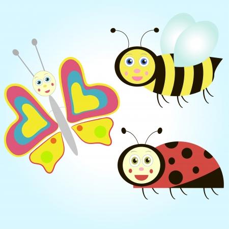 butterfly ladybird: conjunto de insecto de la historieta: mariposa, mariquita y abeja.
