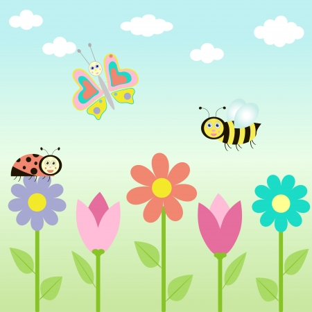 bee garden: background with flowers and  butterflies.