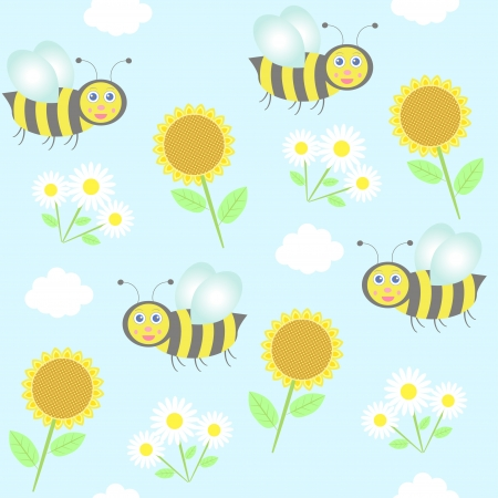 background with bees, sunflowers and camomiles Vector