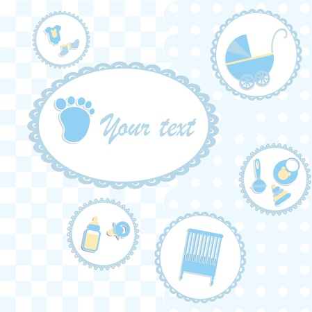 Card for newborn in scrabbook style or baby shower invitation Vector