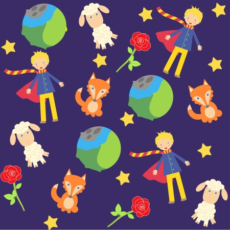 seamless background with The little prince characters