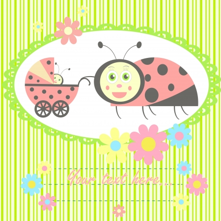 ladybird mom and baby card  for newborn congratulation and baby shower invitation Vector