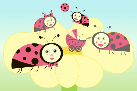 Ladybird family on flower illustration Vector