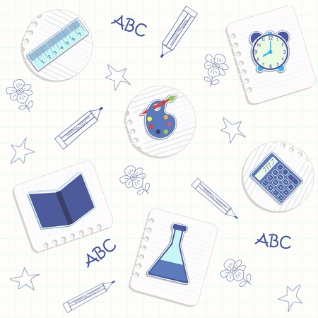 back to school seamless pattern with school icons 向量圖像
