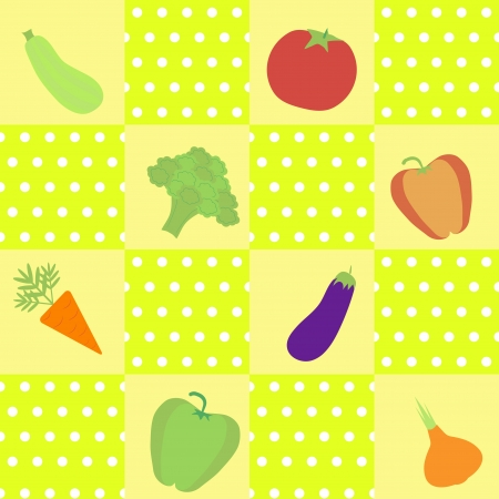 market gardening: vector background with  different vegetables: pepper, tomato, onion, carrot, broccoli, aubergibe, squash Illustration