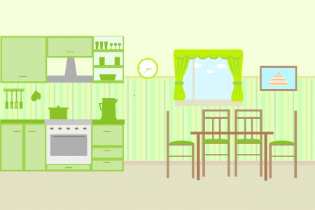 cosy: Illustration of kitchen with kitchen furniture. Vector Illustration