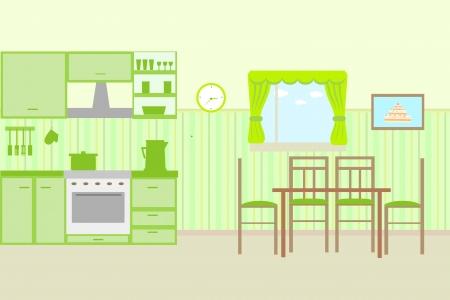 Illustration of kitchen with kitchen furniture. Vector Ilustracja