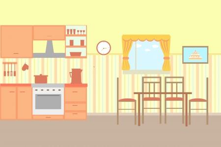 cartoon kitchen: Illustration of cartoon kitchen with kitchen furniture. Illustration