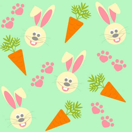 seamless background with bunnies, carrots, flowers and paw Vector