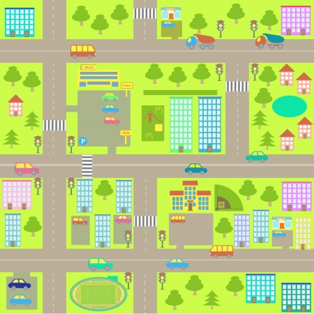 vector cartoon naadloze stadskaart Stock Illustratie