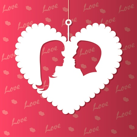 background with paper hearts and lovers silhouette Vector