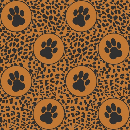 vector leopard  background  with paws seamless pattern Vector
