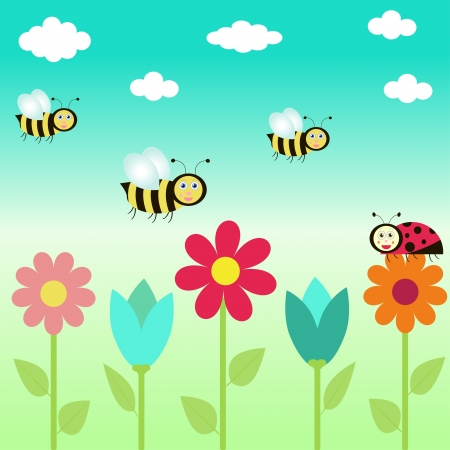 background with flowers and  butterflies. vector illustration Vector