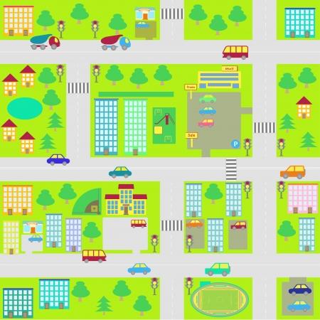 illustratie cartoon naadloze stadsplattegrond Stock Illustratie