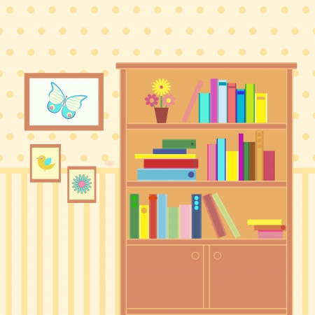 illustration of room with bookcase Vector