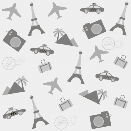 seamless travel background with travel icons Vector