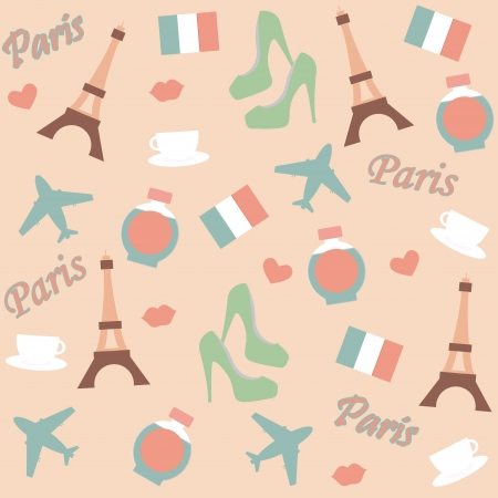 seamless paris background with  icons Vector