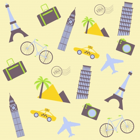 world travel: travel seamless background with taxi, plane, tower, palm tree, suitcase and other travel icons Illustration