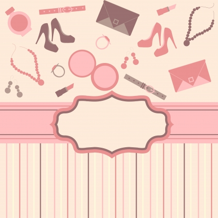 makeup fashion: fashion card  background with girl stuff