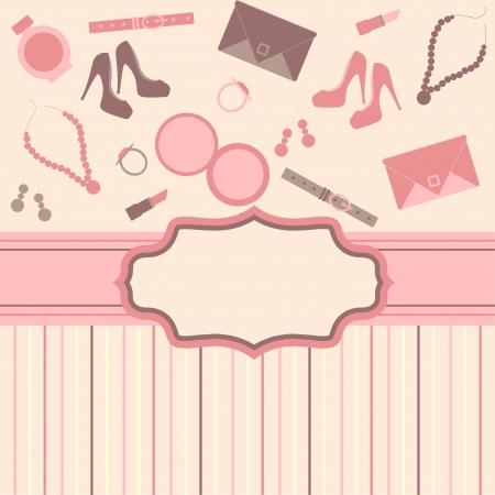mode-kaart achtergrond met meisje spullen Stock Illustratie