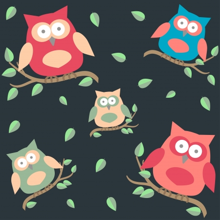 seamless background with owls  on brunches Vector