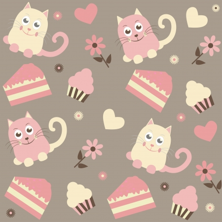 seamless background with cats and cakes Vector