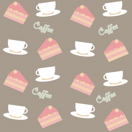 seamless background with cakes and coffee cups Vector