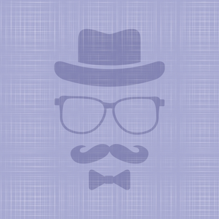 Hipsters hat, glasses, moustache on textile texture background Vector