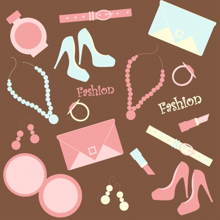 seamless fashion background with female stuffs