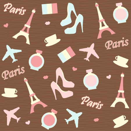 seamless paris background with  icons Stock Vector - 22964983