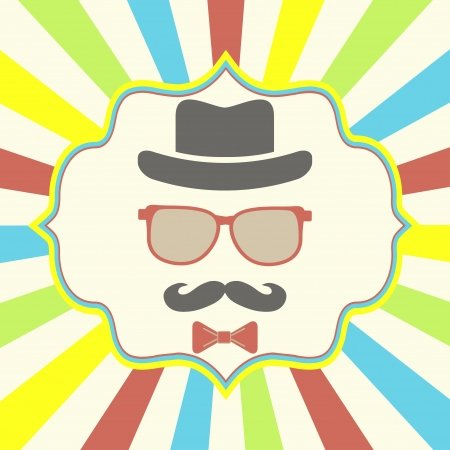 Hipsters hat, glasses, moustache on retro background Vector