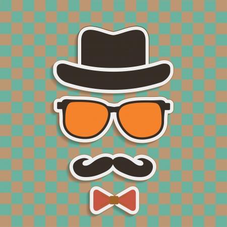 Cappello, occhiali, adesivi baffi di Hipster su sfondo retrò Archivio Fotografico - 24634291
