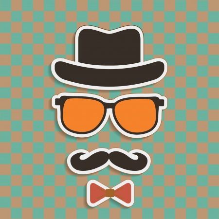 Hipsters hat, glasses, moustache stickers on retro background
