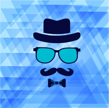 Hipsters hat, glasses, moustache stickers on triangle background Vector