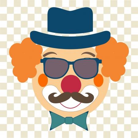 payasos caricatura: feliz inconformista payaso con sombrero, gafas y bigotes